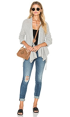White + Warren Convertible Wrap Cardigan in Sterling Cord
