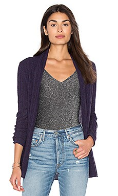 Cable Knit Cardigan in Majestic Heather