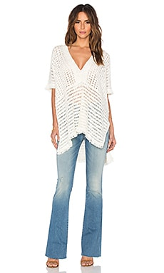 White + Warren Fringed Stitch Poncho in Ivory