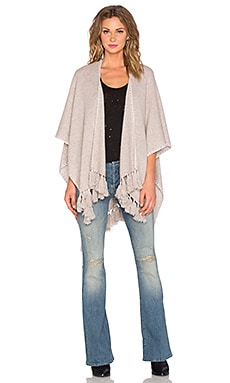 White + Warren Two Way Tassel Poncho in Wheat & White