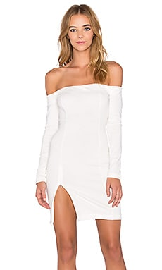 WYLDR Kali Off The Shoulder High Slit Dress in White