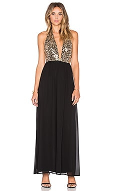 WYLDR Luna Halter Maxi Dress in Gold