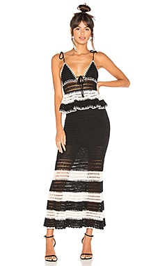 Calypso Dress in Black & Ivory