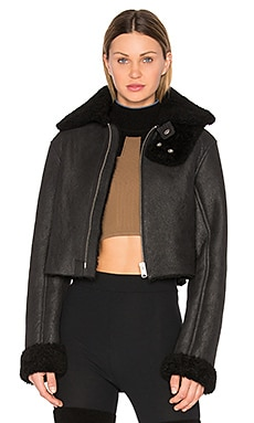 Cropped Lamb Shearling Flight Coat