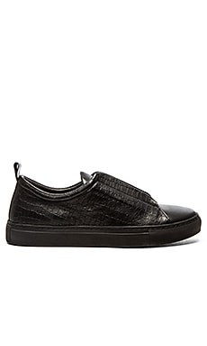 YLATI Nerone Low in Black Croc Leather