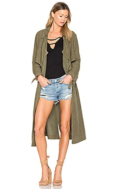 Tie Trench Coat in Army