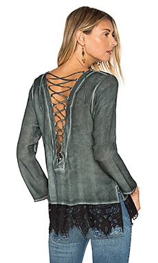 Lace Back Blouse in Peacock