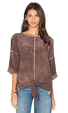 Tie Front Blouse in Mahogany