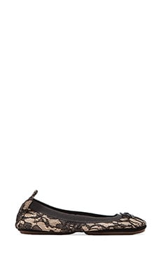 Leather Blacked Lace Ballet Flat in Buff/Black