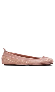 Yosi Samra Kid Suede Micro Studded Flat in Rose Cloud