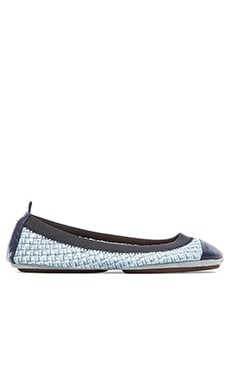 Yosi Samra Samantha Burnished Woven Flat in Skylight Blue