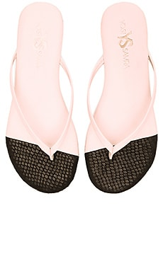 Yosi Samra Roee Cap 3D Snake Sandals in Powder Pink & Black