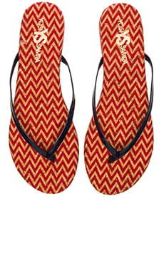 Yosi Samra Roee Zig Zag Flip Flop in Engine Red & Indigo