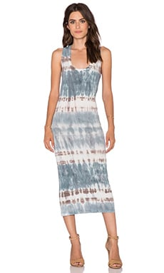 Young, Fabulous & Broke Denny Midi Dress in Cobalt Hideaway Stripe