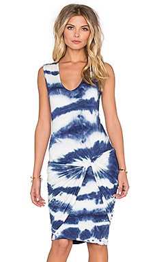Fleur Mini Dress in Navy Shibori Stripe Wash