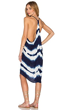 Young, Fabulous & Broke Adalade Dress in Navy Shibori Stripe Wash