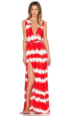 Young, Fabulous & Broke Noel Maxi Dress in Papaya Shibori Stripe Wash
