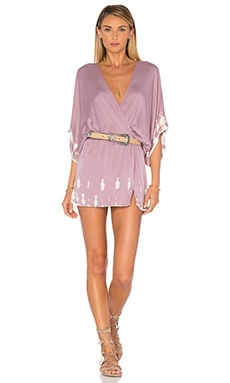 Young, Fabulous & Broke Viv Mini Dress in Raisin Acid Drip Wash
