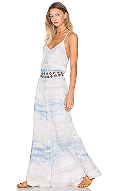 Young, Fabulous & Broke Carla Maxi Dress in Chambray Water Ripple Wash