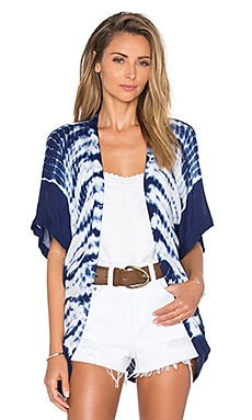 Young, Fabulous & Broke Elena Cardigan in Navy Alligator Border Wash