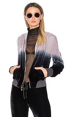 Velvet Bomber Jacket in Black Grey Ombre