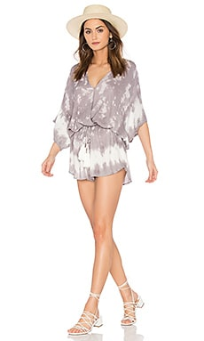 Ashley Romper in Grey Border Wash