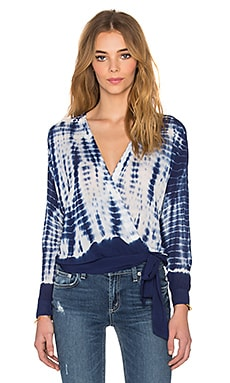 Young, Fabulous & Broke Key Top in Navy Alligator Border Wash