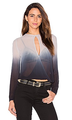 Young, Fabulous & Broke Caliante Wrap Top in Black & Grey Ombre
