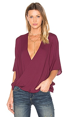H Wrap Blouse in Burgundy