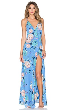 Rush Hour Maxi Dress in Sky Blue Rose Garden