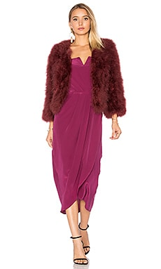 Away We Go Fur Jacket in Burgundy