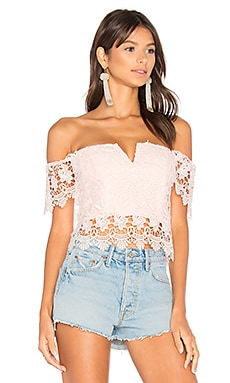 Hot Stuff Crop Top en Dentelle Blush