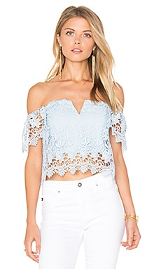 Hot Stuff Crop Top in Light Blue Lace