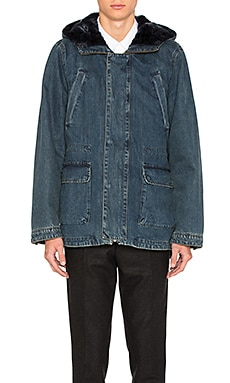 Denim Parka with Blue Lamb Fur