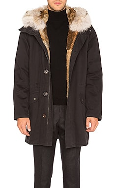 Twill Parka with Natural Rabbit and Coyote Fur