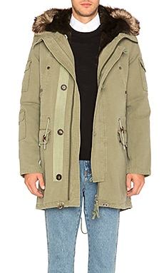 Canvas Parka with Rabbit and Raccoon Fur