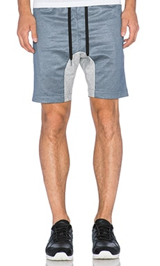 Zanerobe 3D Flight Zip Short in Grey Marle & Navy Mesh