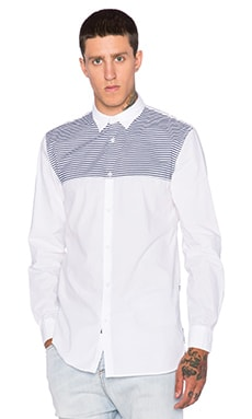 Zanerobe Seven Foot Shirt in White & Dark Navy