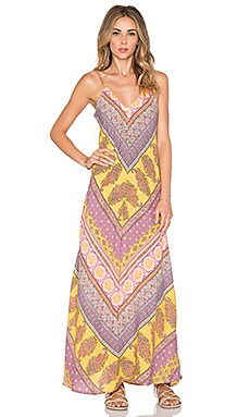 Z&L Printed Maxi Dress in Yellow
