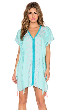Z&L Embroidered Short Caftan in Blue