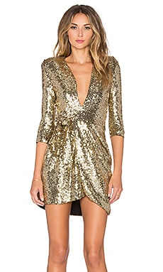 Zhivago Sovereign of Stars Wrap Dress in Gold