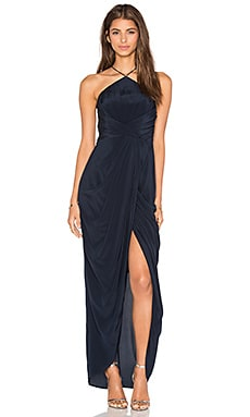 Silk Tuck Long Dress in French Navy