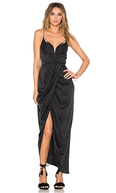 Sueded Silk Underwire Long Dress en Noir