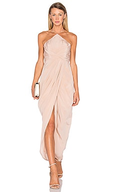 Silk Tuck Long Dress in Peony
