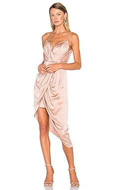 Sueded Silk Plunge Short Dress in Peony
