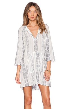 Zimmermann Ryker Hooded Dress in Blue Stripe