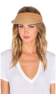 Zimmermann Braided Leather Raffia Visor in Tan