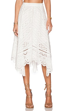 Zimmermann Gemma Embroidery Skirt in Ivory
