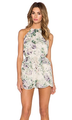 Zimmermann Lucia Embroidered Romper in Floral