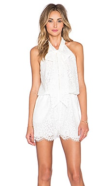 Zimmermann Arcadia Lace Romper in Winter White